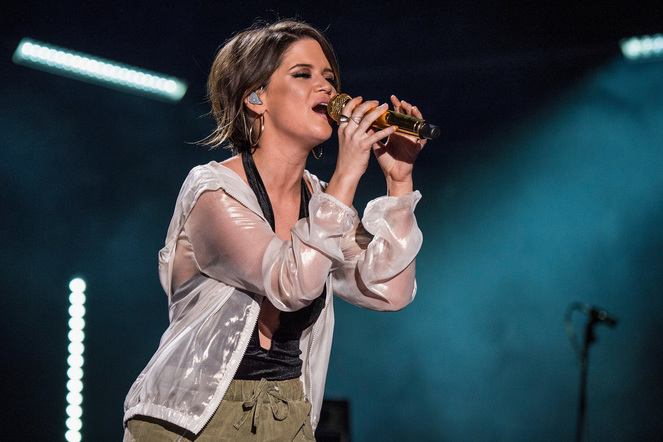 Maren Morris performs on the Nissan Stadium stage during day 3 of the 2017 CMA Music Festival on June 10, 2017 in Nashville, Tennessee.