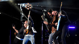 Old Dominion performs on the Nissan Stadium stage during day 3 of the 2017 CMA Music Festival on June 10, 2017 in Nashville, Tennessee. <br>
