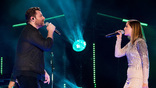 Chris Young and Cassadee Pope perform on the Nissan Stadium stage during day 3 of the 2017 CMA Music Festival on June 10, 2017 in Nashville, Tennessee. <br>