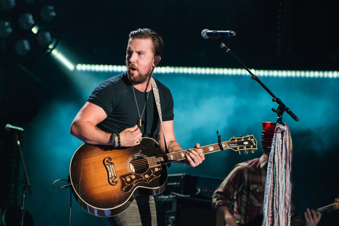 Brothers Osborne performs on the Nissan Stadium stage during day 4 of the 2017 CMA Music Festival on June 11, 2017 in Nashville, Tennessee.