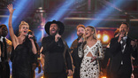 Faith Hill, Garth Brooks, Kelsea Ballerini, and Jimi Westbrook perform onstage at the 51st annual CMA Awards at the Bridgestone Arena on November 8, 2017 in Nashville, Tennessee.
