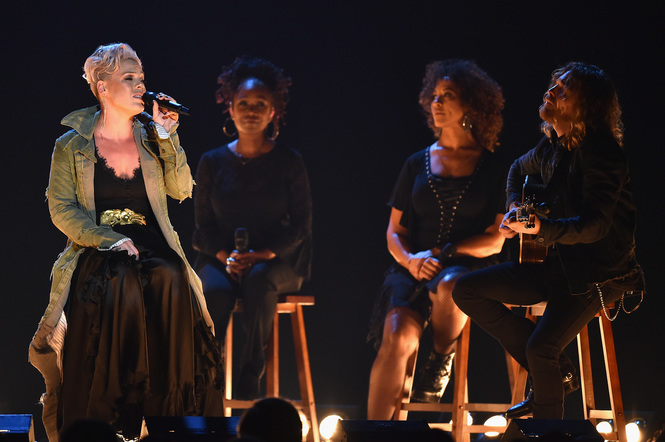 Pink performs onstage at the 51st annual CMA Awards at the Bridgestone Arena on November 8, 2017 in Nashville, Tennessee.