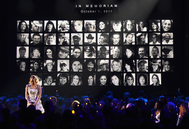 Carrie Underwood performs by a memoriam for the shooting victims of the Route 91 Harvest music festival in Las Vegas, at the 51st annual CMA Awards at the Bridgestone Arena on November 8, 2017 in Nashville, Tennessee.