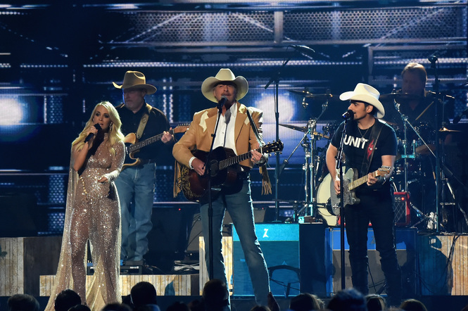 Carrie Underwood, Alan Jackson and Brad Paisley perform onstage at the 51st annual CMA Awards at the Bridgestone Arena on November 8, 2017 in Nashville, Tennessee.