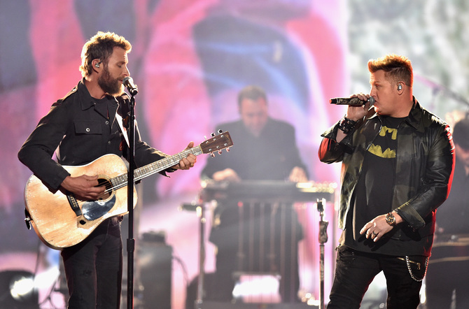 Dierks Bentley and Rascal Flatts perform onstage at the 51st annual CMA Awards at the Bridgestone Arena on November 8, 2017 in Nashville, Tennessee.