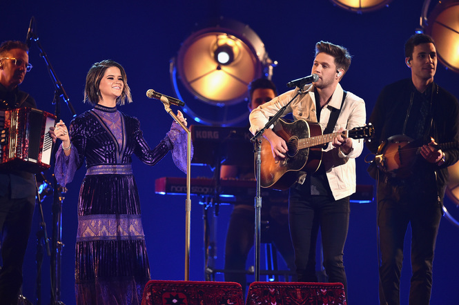 Maren Morris and Niall Horan perform onstage at the 51st annual CMA Awards at the Bridgestone Arena on November 8, 2017 in Nashville, Tennessee.
