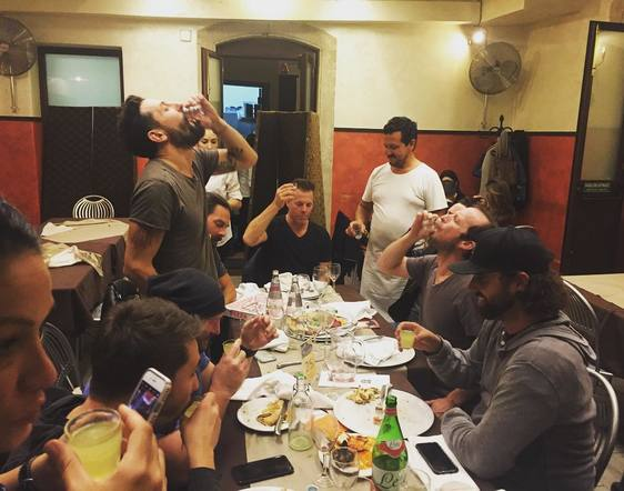 Old Dominion made time for a band-family meal out on the road.