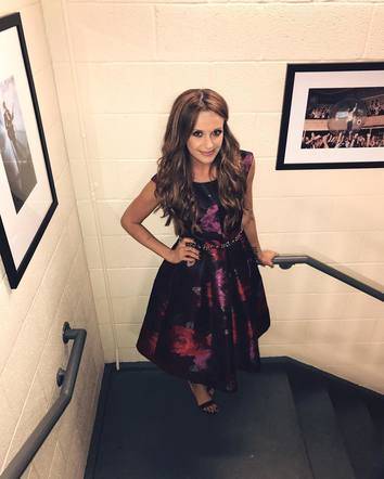 A delighted Carly Pearce prepares for the Ryman stage.