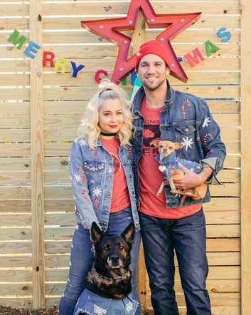 RaeLynn had a very colorful Christmas with her husband and fur babies.