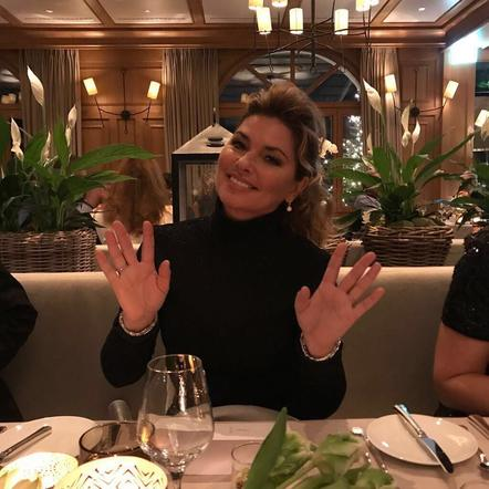 Shania Twain wishes a fans a happy New Year from Gstaad, Switzerland.