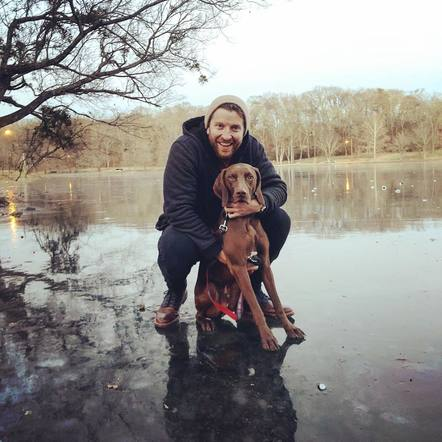 Brett Eldredge and Edgar spent a boys day in the icy cold!