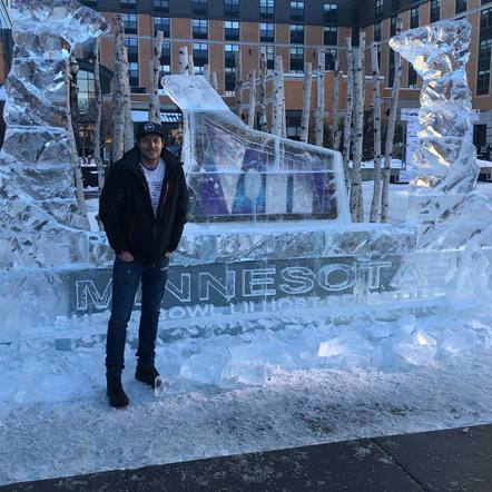 Clayton Anderson found a Super Bowl themed ice sculpture in Minnesota!