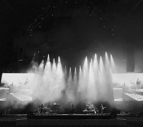 Old Dominion shared a black & white smoky sound check photo. A look into before the excitement kicked off.